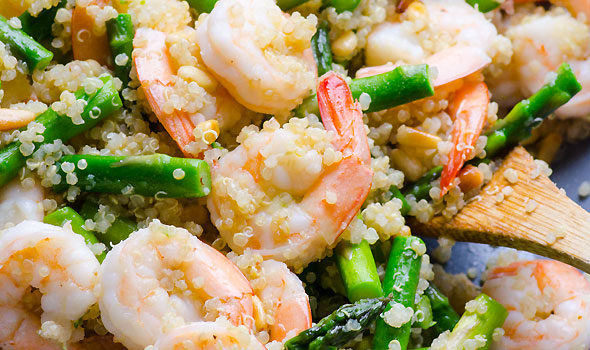 Shrimp & Asparagus over Quinoa