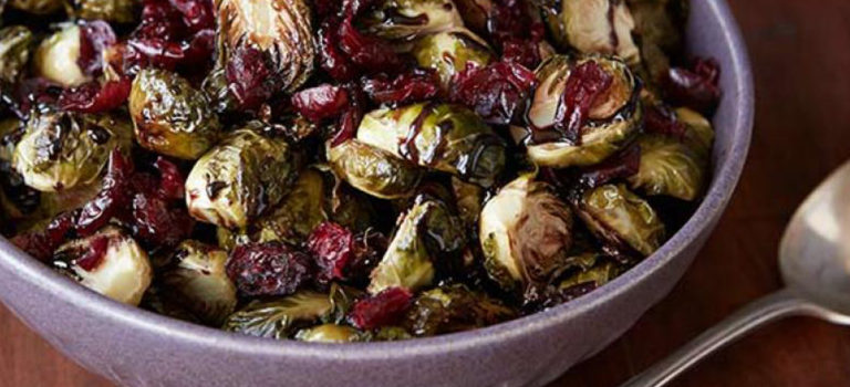Recipe: Balsamic Roasted Brussels with Cranberries & Pecans